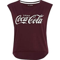 Dark red coca cola dip hem tank top