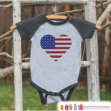 4th of July Shirt - Patriotic Flag Heart - Kids Flag 4th of July Onepiece or T-shirt - Girls Grey Raglan - Patriotic 4th of July Shirt