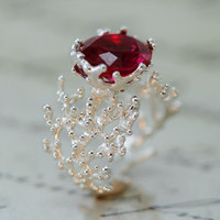 Ruby Engagement Ring,Statement Ring, silver Ruby Ring, silver Engagement Ring, Large Ruby Ring,ruby promise Ring,unique ruby ring