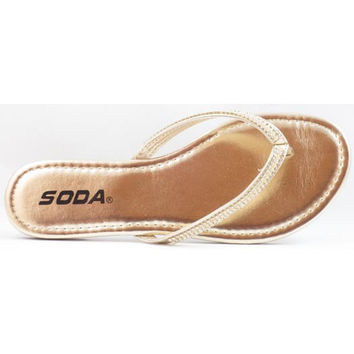 Soda Women's Embellished Flip Flops