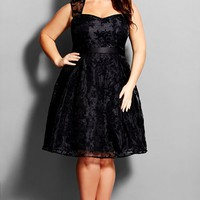 Plus Size Women's City Chic 'Embroidered Beauty' Organza Party Dress,