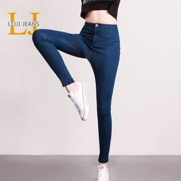 LEIJI Fashion Jeans S-6XL Summer& Autumn Elastic Plus Size Women Denim Light Washed High Waist Jeans Skinny Pencil Pants Female