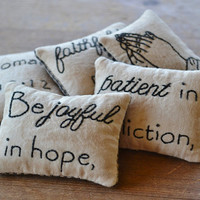 Christian Primitive Bowl Fillers - Decorative Pillows - Tucks - Ornies - Joyful in Hope - Faithful in Prayer - Romans 12 - Gingham