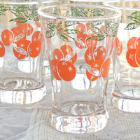 Mid Century Enameled Orange Juice Glasses Set of 6, Vintage, Rustic Modern, Clear Glass, Retro Glassware, Home and Living
