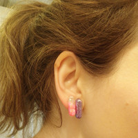 Happy Valentines Day set, pink hearts, white, and purple earrings