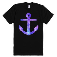 Watercolor Purple Anchor-Unisex Black T-Shirt