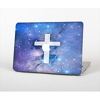 "The Vector White Cross v2 over Purple Nebula Skin Set for the Apple MacBook Pro 13"" with Retina Display"