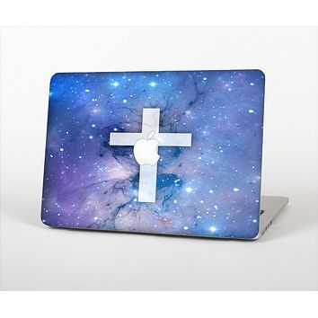 The Vector White Cross v2 over Purple Nebula Skin Set for the Apple MacBook Pro 13""