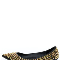 Steve Madden Extraa Black Gold Studded Pointed Flats - $99.00