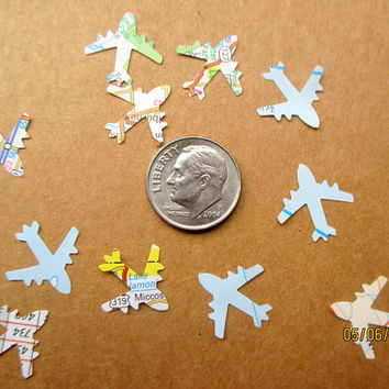 1200-Tiny-Map Airplane Confetti-Travel Theme Bridal Shower-plane confetti-Jet Plane-Airplane baby shower décor-Atlas airplane-baby shower