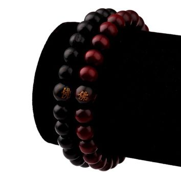 NYUK 2016 New Hot Hip Hop Men Wood Beads Bracelets Sandalwood Buddhist Buddha Meditation Prayer Bead Bracelet Wooden Jewelry