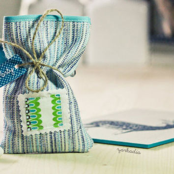 Christening favors, fabric favor bags, Baptism favors, boy baptism, fabric favors, party favors, baby shower, blue theme