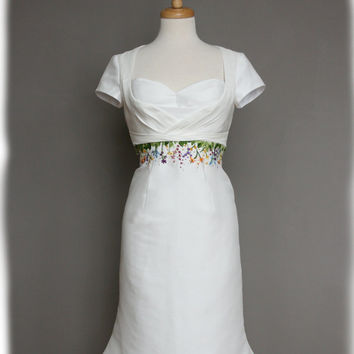Wildflowers Short Wedding Dress, Retro Styling, Hand Embroidered, Silk Linen, Custom Made to Order in your size