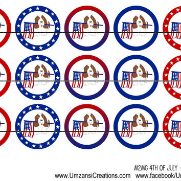"""M2MG 4th of July Dogs Bottle Cap Images 1"""" Circles Cupcake Toppers Instant Download Digital Emailed 4x6"""