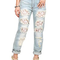 Peekaboo Lace Girlfriend Jeans