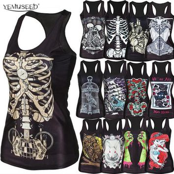 YEMUSEED new  women shirt Painting Cool Pattern 3D Skull bone Camisole Sexy print Vest Tanks Tops Drop shipping