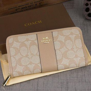 PEAPJ3V Coach Women Leather Zipper Wallet Purse