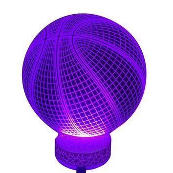 3D Basketball Lamp Night Light Colorful 7 Color Changing with Multicolored USB Powered LED Light Optical Illusion Touch Table Desk Lamp Birthday Festival Gift for Bays Kids Girlfirend