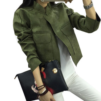 Early Spring 2017 New Retro Suede Casual Jacket Women All-Match Military Green Cardigan Coat 6 Colors Chaquetas Mujer S~L