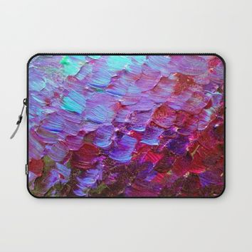 MERMAID SCALES - Colorful Ombre Abstract Acrylic Impasto Painting Violet Purple Plum Ocean Waves Art Laptop Sleeve by EbiEmporium