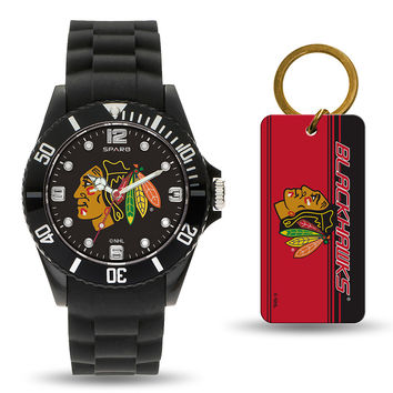 Chicago Blackhawks NHL Watch and Keychain Gift Set