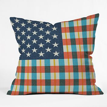 Nick Nelson Plaid Flag Throw Pillow