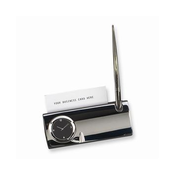 Silver-plated Pen with Clock and Card Holder - Engravable Personalized Gift Item