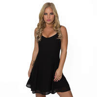 Get Down Little Black Skater Dress