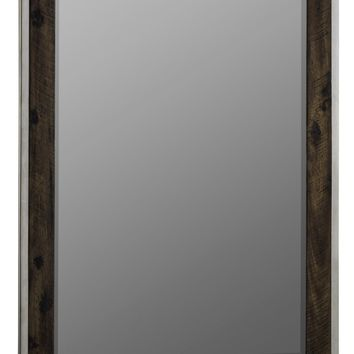 Clovis Mirror Stainless Steel with Dark Distressed Wood; Beveled Mirror
