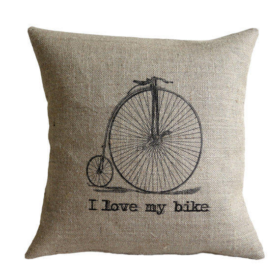 """I Love my Bike Vintage Bicycle Hessian Burlap Pillow Cushion Cover 16"""""""