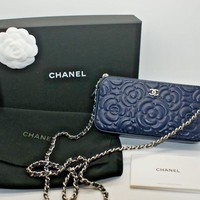 Chanel Women Lambskin Camellia Double Zip Wallet On Chain WOC Crossbody Bag NIB