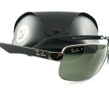 Kalete Ray-Ban RB3478 Sunglasses Gunmetal Green Polarized 004/58 New Authentic