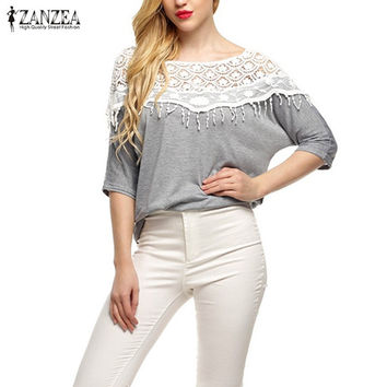 Plus Size S-5XL 2016 New Cotton Shirt For Women Crochet Cape Lace Collar Batwing Sleeve Blouse Hollow Out Tops Blusas Femininas