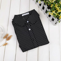 Brand Summer Cotton Women Blouses Shirts Long Sleeve Polka Dot Turn Down Collar Shirt Ladies Tops Work Clothing Fashion