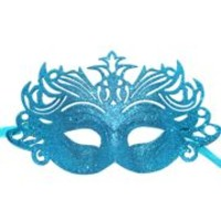Glittered Plastic Turquoise Face Masquerade Mask