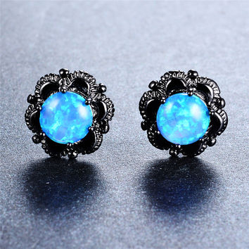 Blue/White Fire GENUINE Opal Stud Earrings Black Flower Gold Filled
