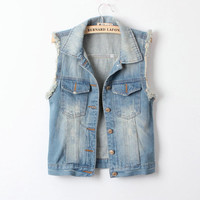 casual womens west street style denim vest