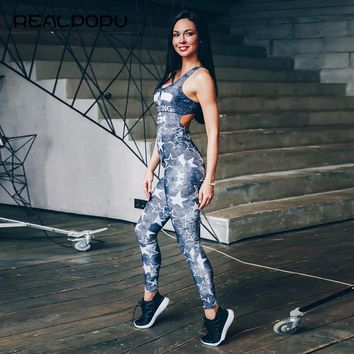 Realpopu 2017 Summer Thin Sleeveless Jumpsuit Backless Padded High Waist Tracksuit Women Fitness Full Workout Jumpsuits Casual