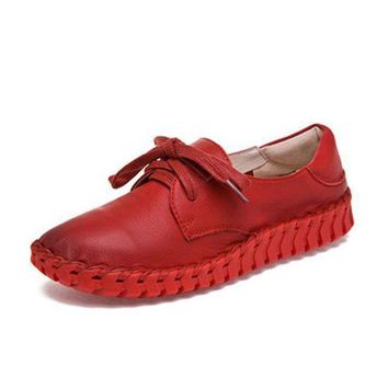 New women Genuine Leather Moccasins Mother Loafers Soft Leisure