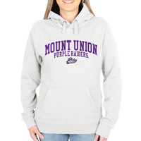 Mount Union Purple Raiders Ladies Team Arch Pullover Hoodie - White