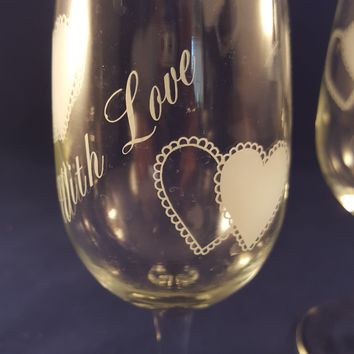 """Stemware With Hearts """"With Love"""""""