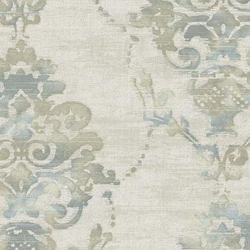 Sample of Distressed Damask Wallpaper in Ivory, Blues, and Metallic design by Seabrook Wallcoverings