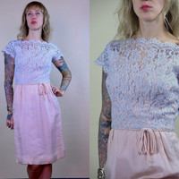 Vintage 50's Elinor Gay Baby Blue & Pink Floral Lace Cocktail Dress
