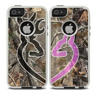 The Pink-Black Connecting Heart Deer Icon on Camouflage Skin For The iPhone 4-4s or 5-5s Otterbox Commuter Case