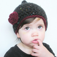 Crochet Pixie Hat in Black Tweed with Red Rose, Toddler Girls 15-24 months, ready to ship.