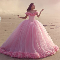 Gorgeous Pink Beach Wedding Dresses with Flowers off the Shoulder Sweetheart vestido de noiva Sweep Train robe de mariage Custom