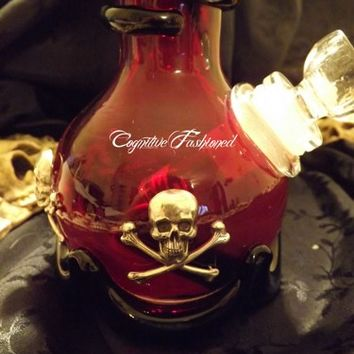 Skull Crossbone Glass Water Pipe Burgundy and Black Heavy