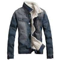 Partiss Mens Sherpa Lined Denim Jacket