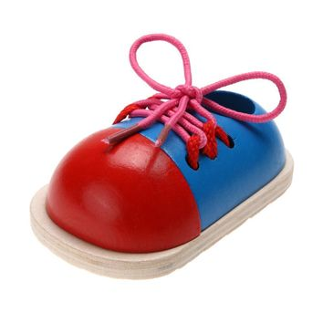 Kids Montessori Educational Toys for Children Wooden Toys Toddler Lacing Shoes Early E