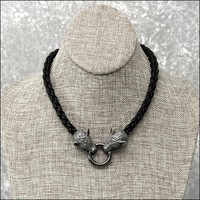 Superior Quality 8 Strand Viking Braid Leather Necklace With Antiqued Snarling Wolf Heads and And Spring Connector Ring - No Clasp Behind the Neck